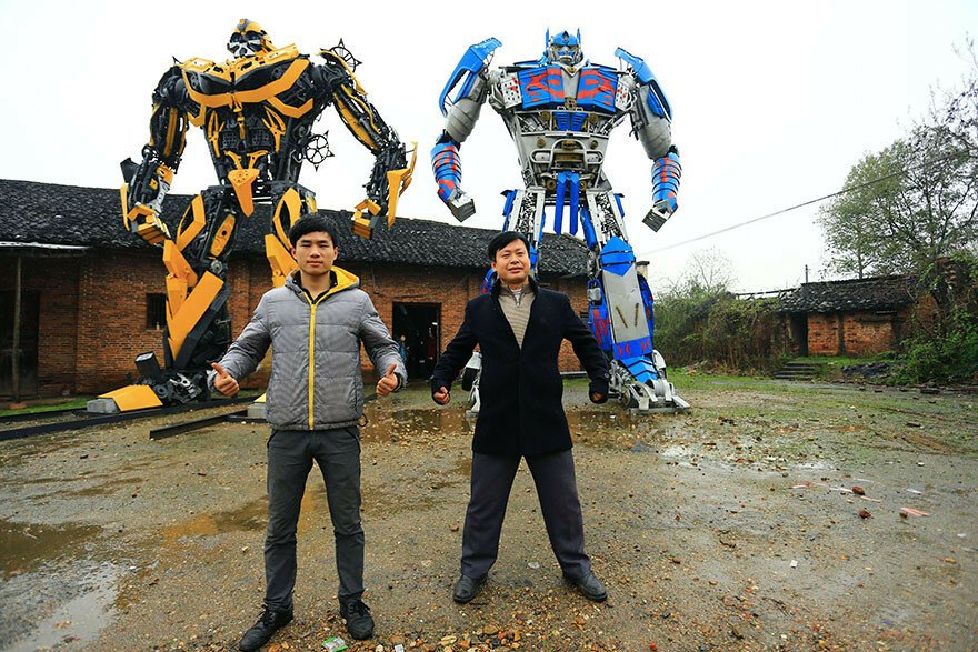 Farmer Dad And His Son Build Transformers From Scrap Metal