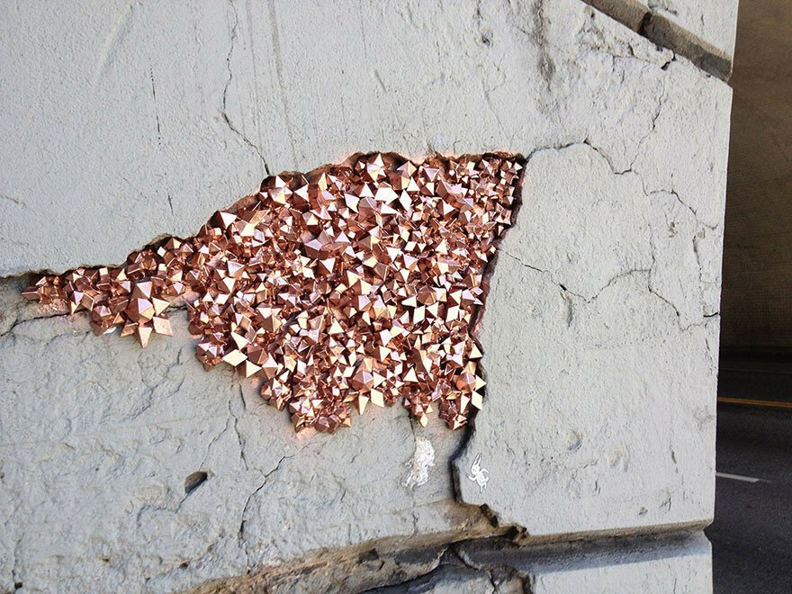 Artist Hides Crystallized Geode Installations Inside Wall Cracks