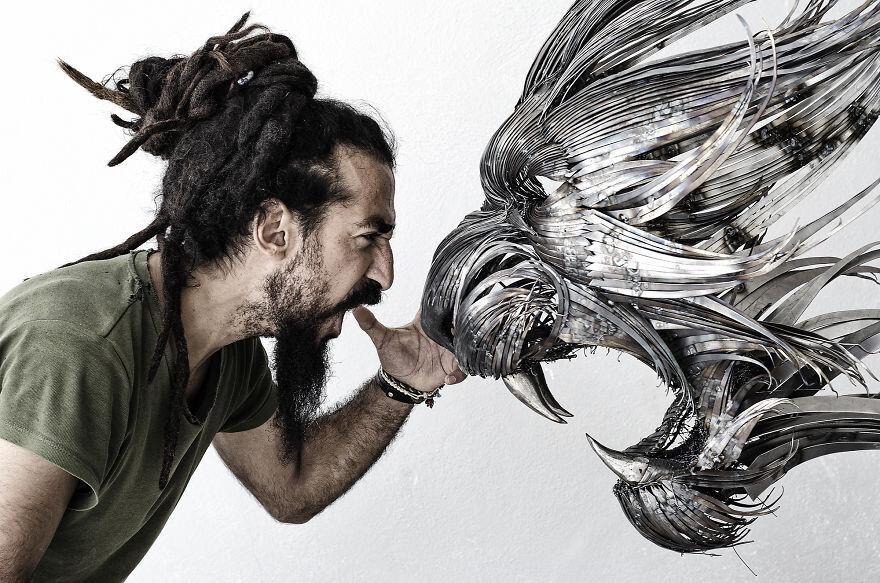 I Hand-Craft Animal Masks From Hammered Steel