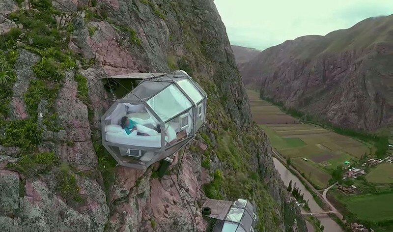 See-Through Sleeping Capsules Hang 400 Feet Above Peru's Sacred Valley