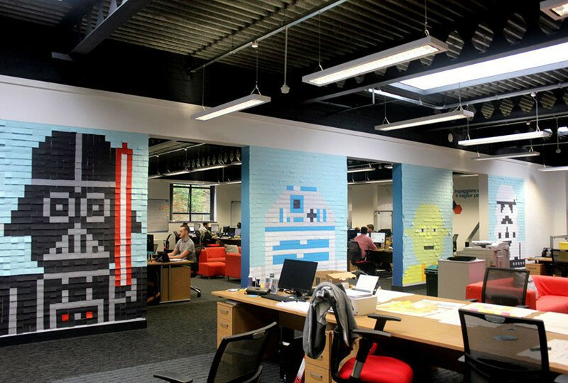 Workers Use Post-It Notes To Turn Office Walls Into Star Wars Murals