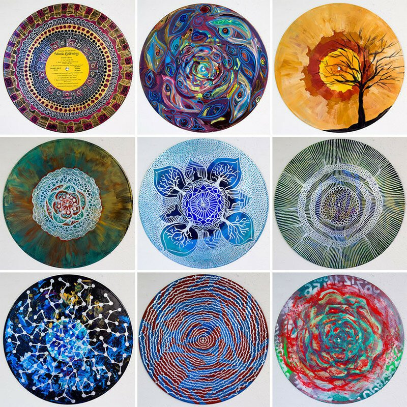 Art Therapist Paints Mandalas On Vinyl Records