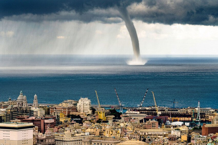 Russian Tourist Captures Moment A Giant Waterspout Twister Descends On Genoa