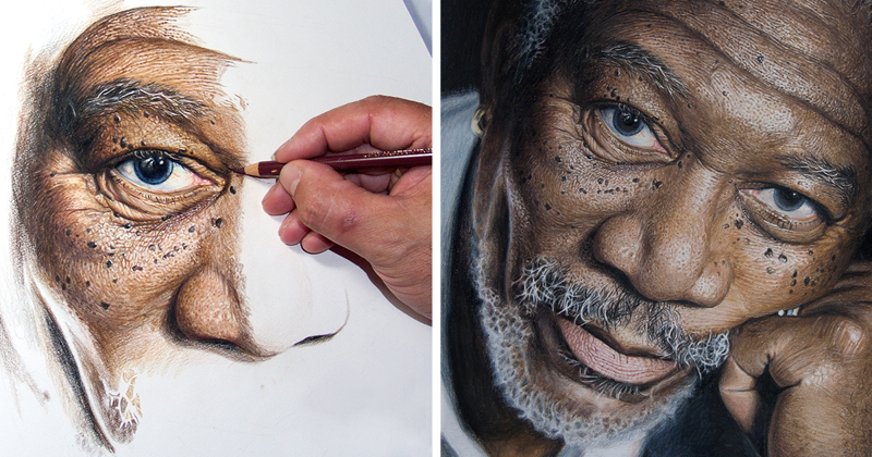 50-Hour High-Detail Drawing Of Morgan Freeman In Color Pencils