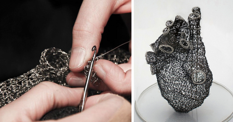 Artist Spends 1000s Of Hours Crocheting Wire Into Anatomically Correct Heart