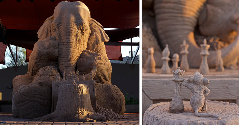 Stunning Sand Sculpture Of A Life-Size Elephant Playing Chess With A Mouse