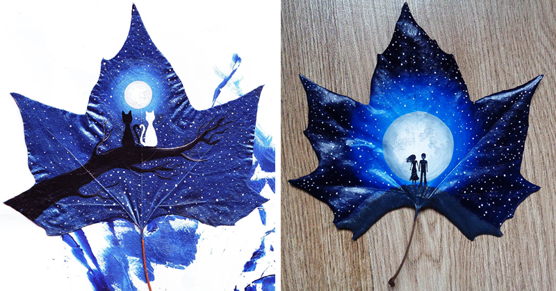 24 Fallen Leaves: Georgian Couple Uses Fallen Leaves To Create Out-Of-This-World Art