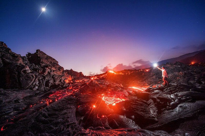 Meteor, Moon, Milky Way, And Lava In One Incredible Photo