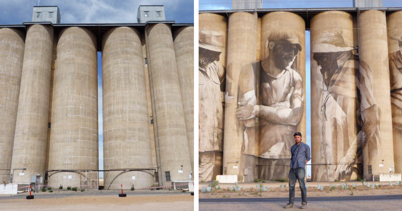 Street Artist Turns A Town Of 100 People Into Tourist Attraction By Painting Mural On Old 30m Silos