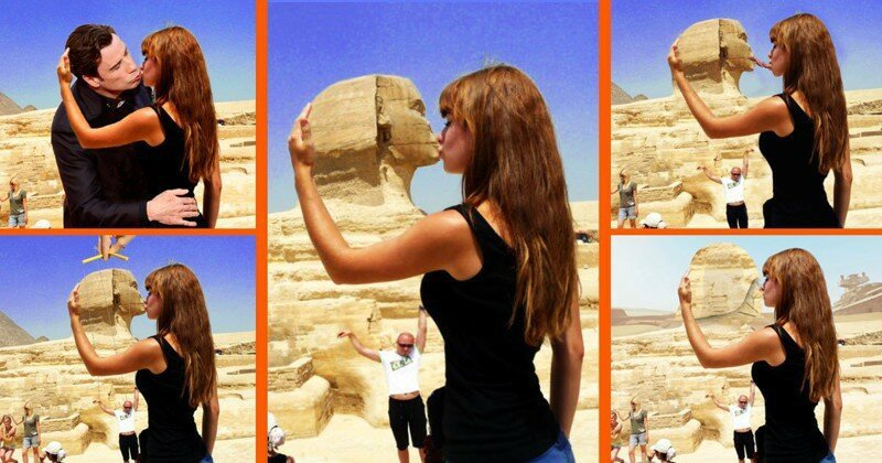This Tourist's Sphinx Makeout Got The Full-On Photoshop Treatment