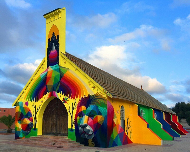 Street Artist Transforms Abandoned Church In Morocco With Brilliantly Bright Graffiti