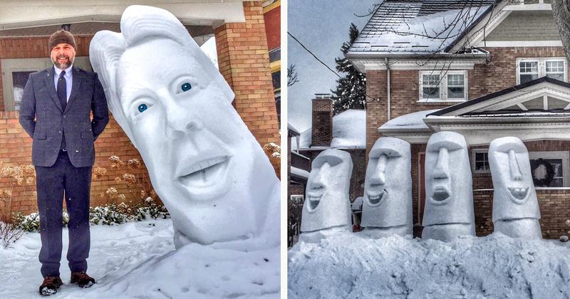 7-Feet Tall Snow Sculptures