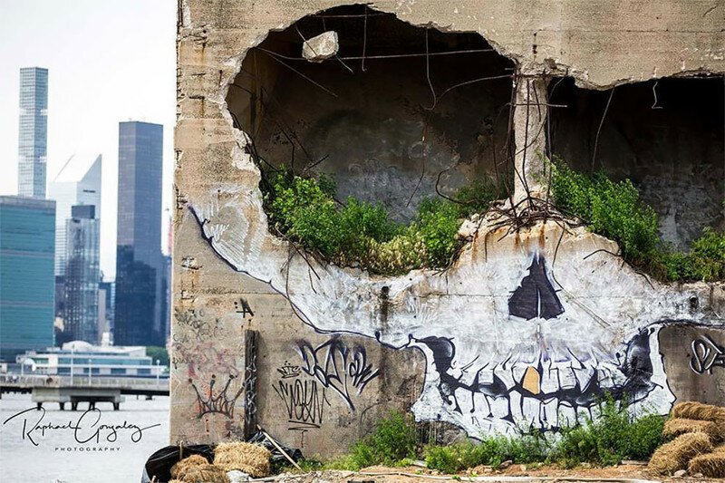 Street Artist Greg Suits Turns An Abandoned Building Into A Giant Skull