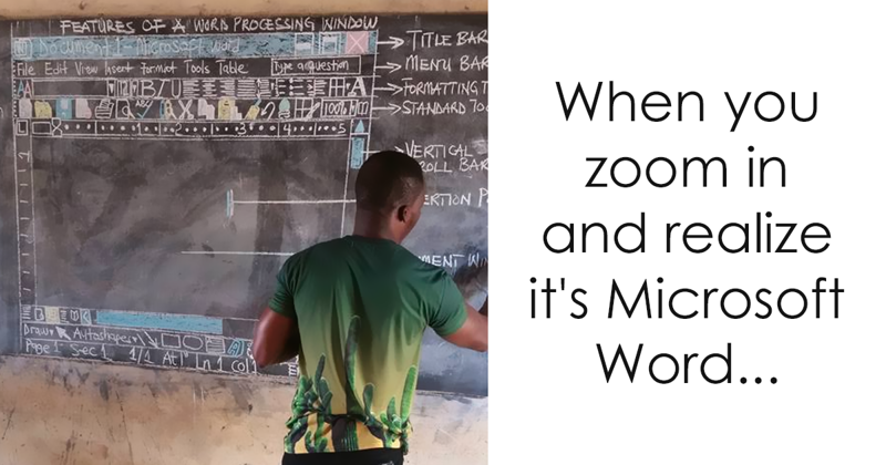 Teacher In Ghana Teaches 'MS Word' On Chalkboard