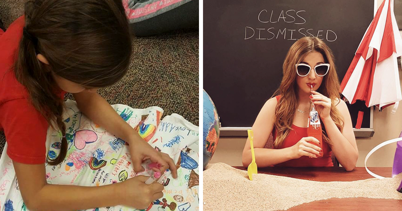 This Modern School Teacher Asks Her Students Draw On Her Dress, And The Result Is Adorable