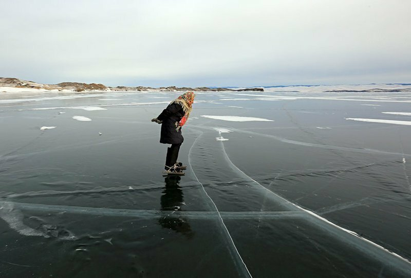 "76 y.o. ""Babushka of Baikal"" Lives Alone In Siberia And Skates Across Baikal Every Day"