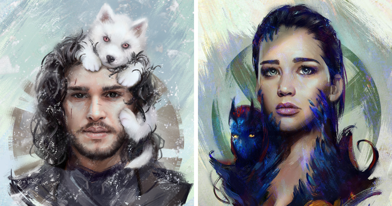 8 Digital Paintings Of Famous Characters And Their Pets By Aleksei Vinogradov