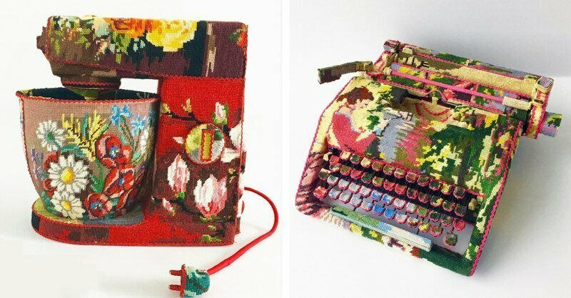 Interview: Artist Gives Discarded Household Objects New Life with Cross-Stitch Coverings