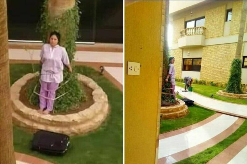 Filipina maid tied to a tree by rich Saudi boss as punishment