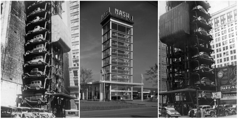 Space Saving: Amazing Vintage Photographs of Vertical Parking Lots From Between the 1920s and 1950s