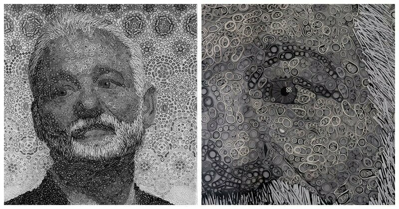 Artist Spends 200 Hours Making Stunning Portrait Of Bill Murray Out Of Rolled Vinyl Tape