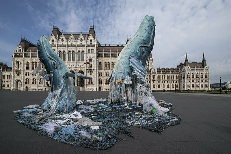 Greenpeace Protest Plastic Pollution With Lifesize Whales In Budapest