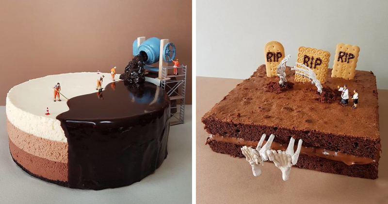 This Pastry Chef Transforms Plain Desserts Into Miniature Worlds And It's Too Sad To Eat
