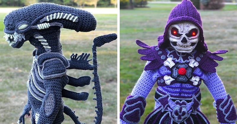 Woman Crochets Full Body Halloween Costumes For Her Kids