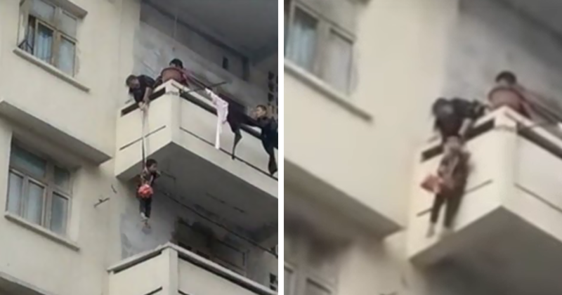 Grandma Goes Mission Impossible While Dangling A 7 Y.O. From The 5th Floor to Rescue Her Cat