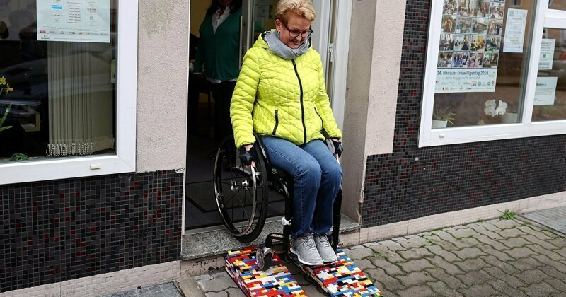 Wheelchair-bound grandmother builds ramps out of Lego for shops and cafes around the German town