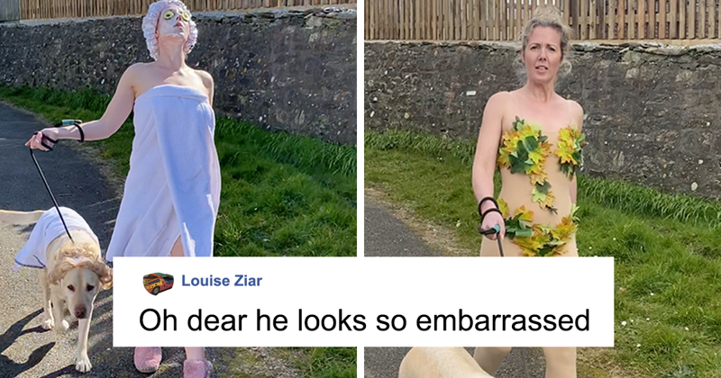 Woman Wears Bizarre Costumes While Walking Her Dog During The Quarantine And He Looks Embarrassed