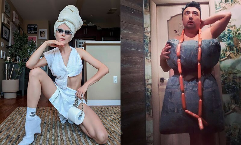 """People Are Recreating """"High Fashion"""" Looks From Household Items While In Quarantine"""