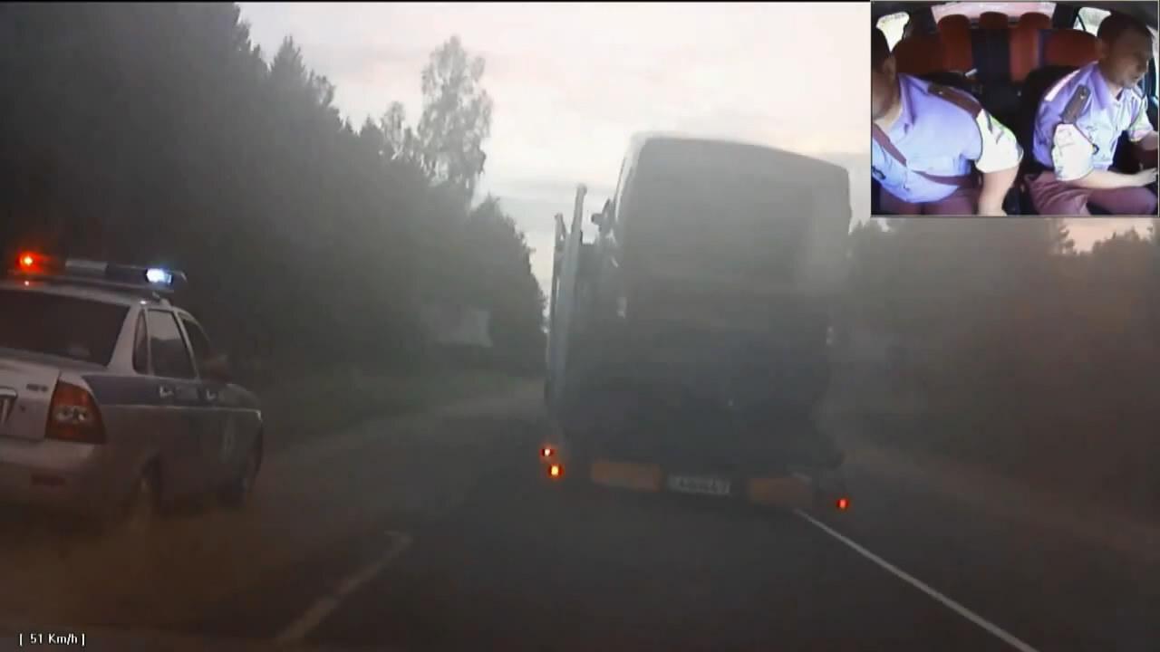 Погоня за пьяным водителем на автовозе