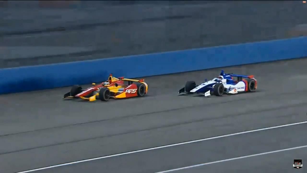 Авария Михаила Алешина в Indycar на трассе в Фонтане