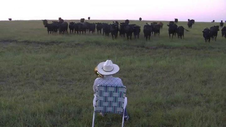 Он начал играть на тромбоне в поле