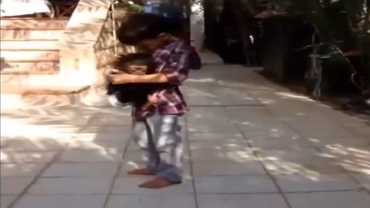 Мальчик защитил маленькую обезьянку от гиены
