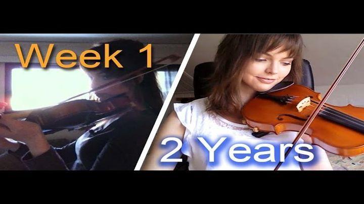 От гусеницы к бабочке: девушка записала на видео свой прогресс в изучении игры на скрипке за 2 года