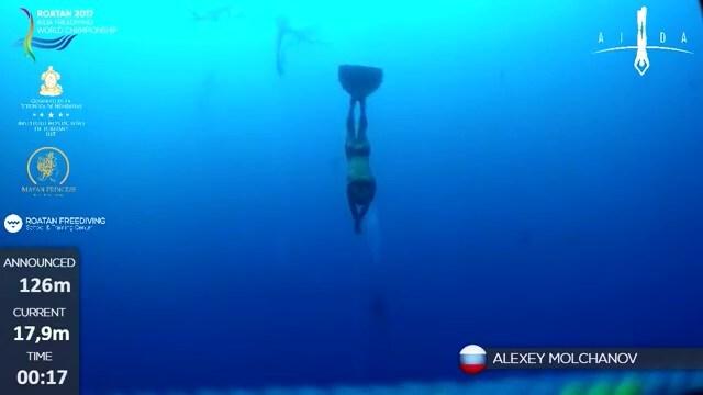 Погружение на глубину 126 метров без акваланга