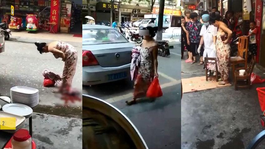 В Китае женщина родила посреди улицы и пошла дальше