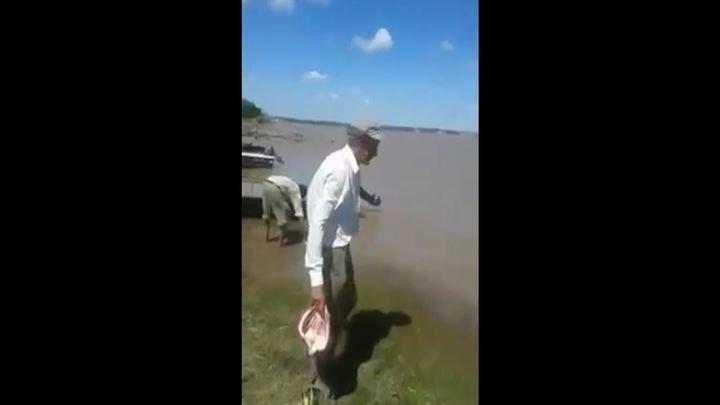Аргентинец вышел покормить плотоядных рыбок
