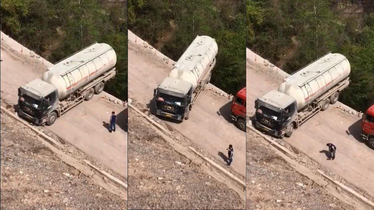 Водитель автоцистерны совершил мастерский разворот над обрывом