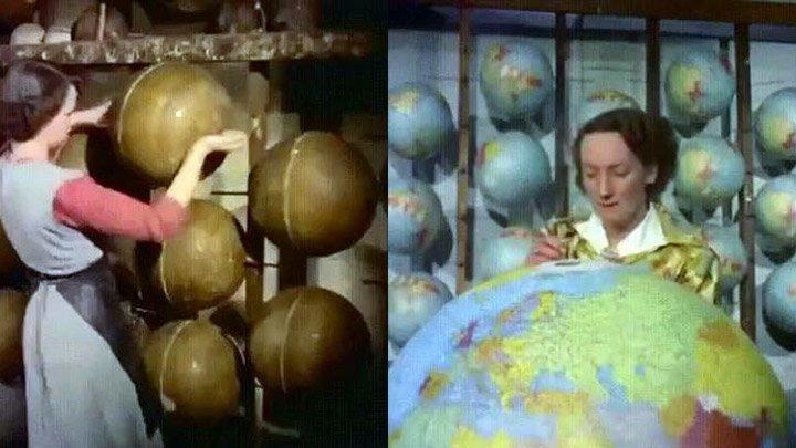 Изготовление глобусов в 1955 году