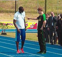 Принц Гарри и Усэйн Болт решили проверить кто быстрее