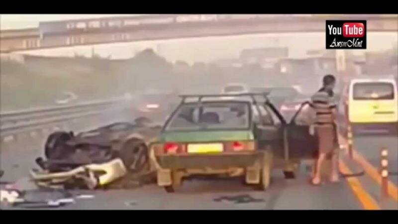Worst Car Accident Ever Recorded Woman Thrown 20 meters in the air!