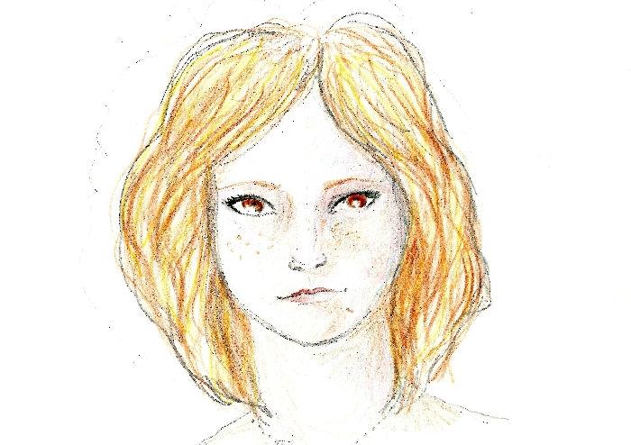 Девушка рисует автопортрет до и после приема ЛСД