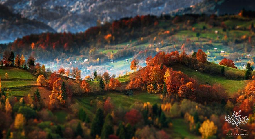 Горы и пейзажи утренней Трансильвании