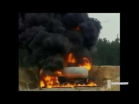 Взрыв цистерны с топливом