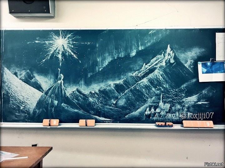 картина мелом в школе на доске