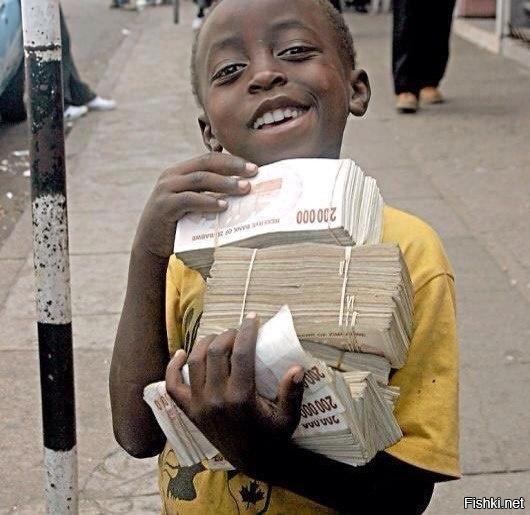 Зимбабве – единственная страна в мире, где самая мелкая купюра – 50 000, а ру...