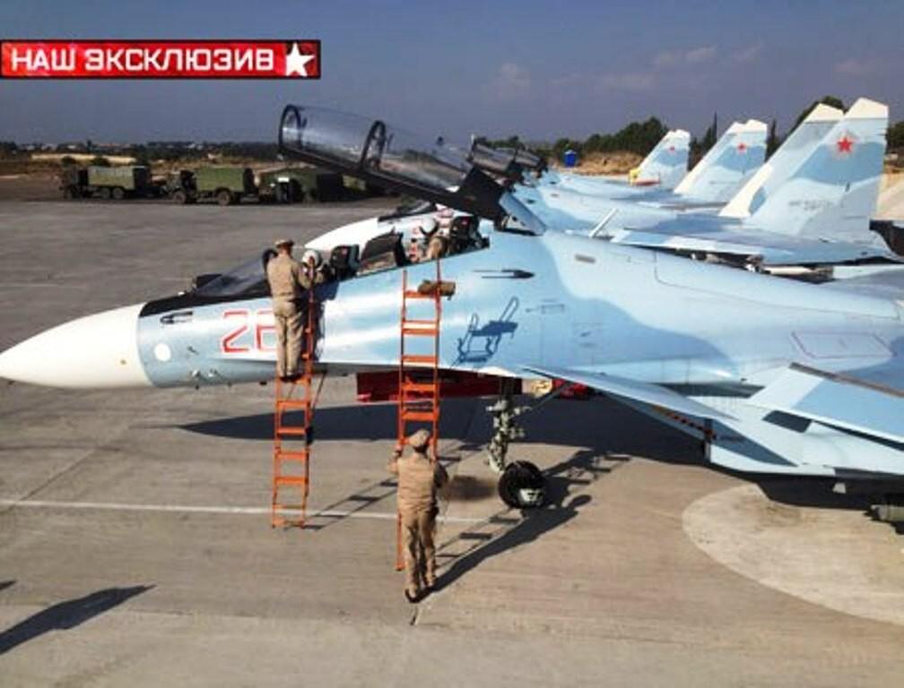 Су-30СМ готовятся к боевому вылету в Сирии